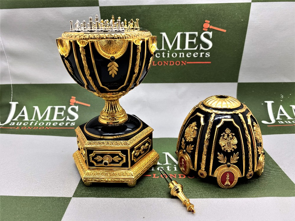 Franklin Mint House of Faberge 24 Carat Gold Imperial Jeweled Egg Chess Set - Image 8 of 11
