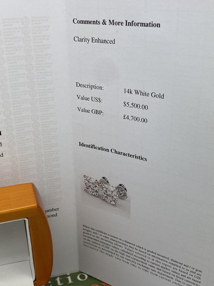Pair of New 1.07 Carat Round Cut VS2/D Diamond Stud Earrings On 14K Hallmarked White Gold - Image 4 of 5
