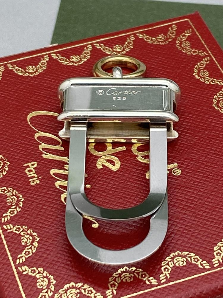 Cartier Paris -Extremely Rare Sterling Silver 925 & Gold Key Ring / Money Clip - Image 8 of 9