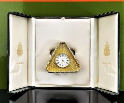 Kitney & Co Vintage Gold Plated Desk Clock, Made in England