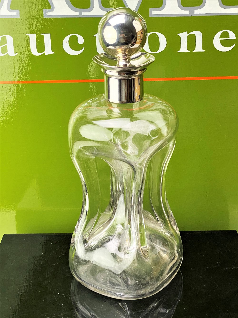 1890 Mappin & Webb Large Pinch Glass Decanter With Solid Silver Stopper & Collar