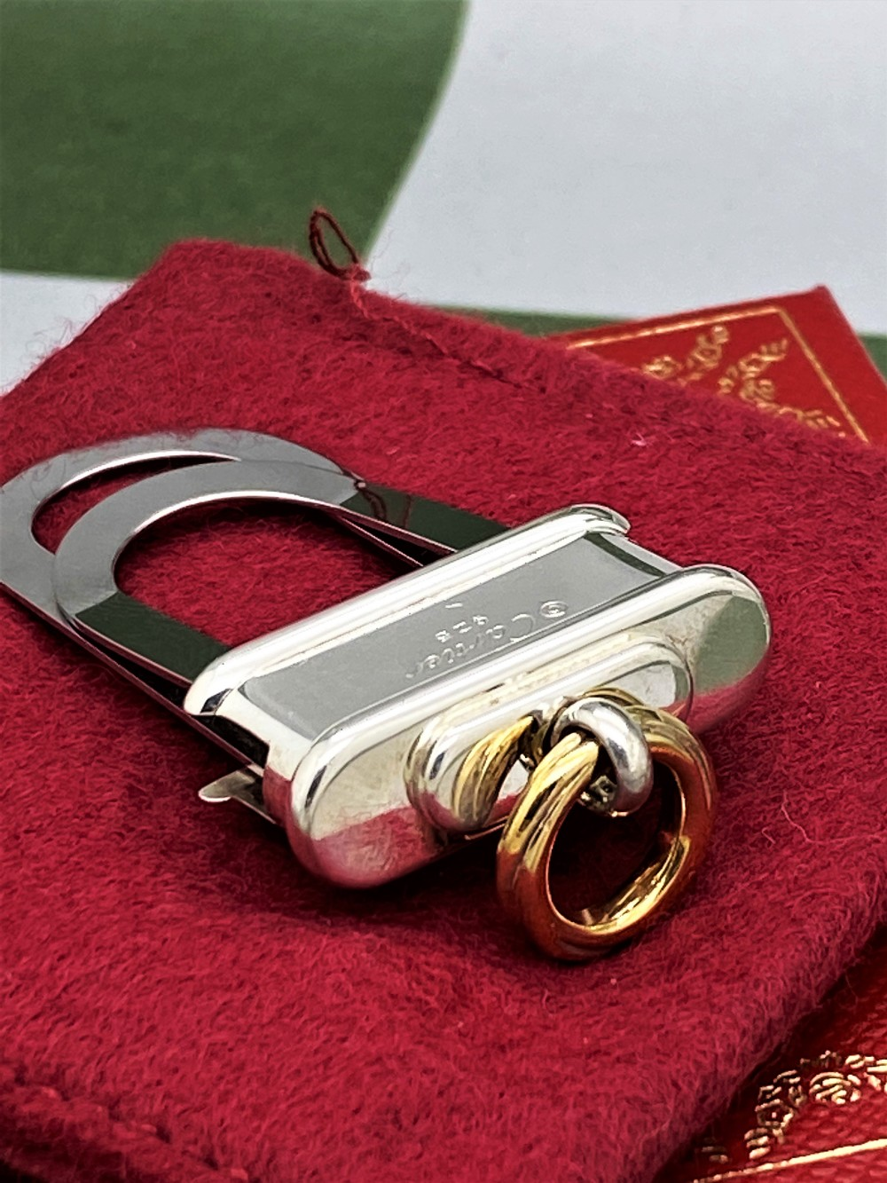 Cartier Paris -Extremely Rare Sterling Silver 925 & Gold Key Ring / Money Clip - Image 3 of 9