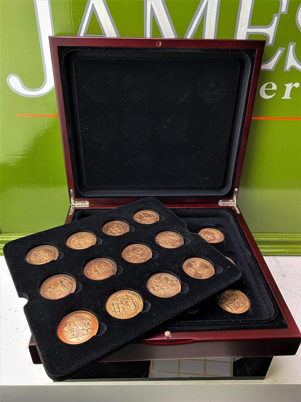 Set Of 24 Bronze Art Medallions Thomason Bible Franklin Mint-Original Case