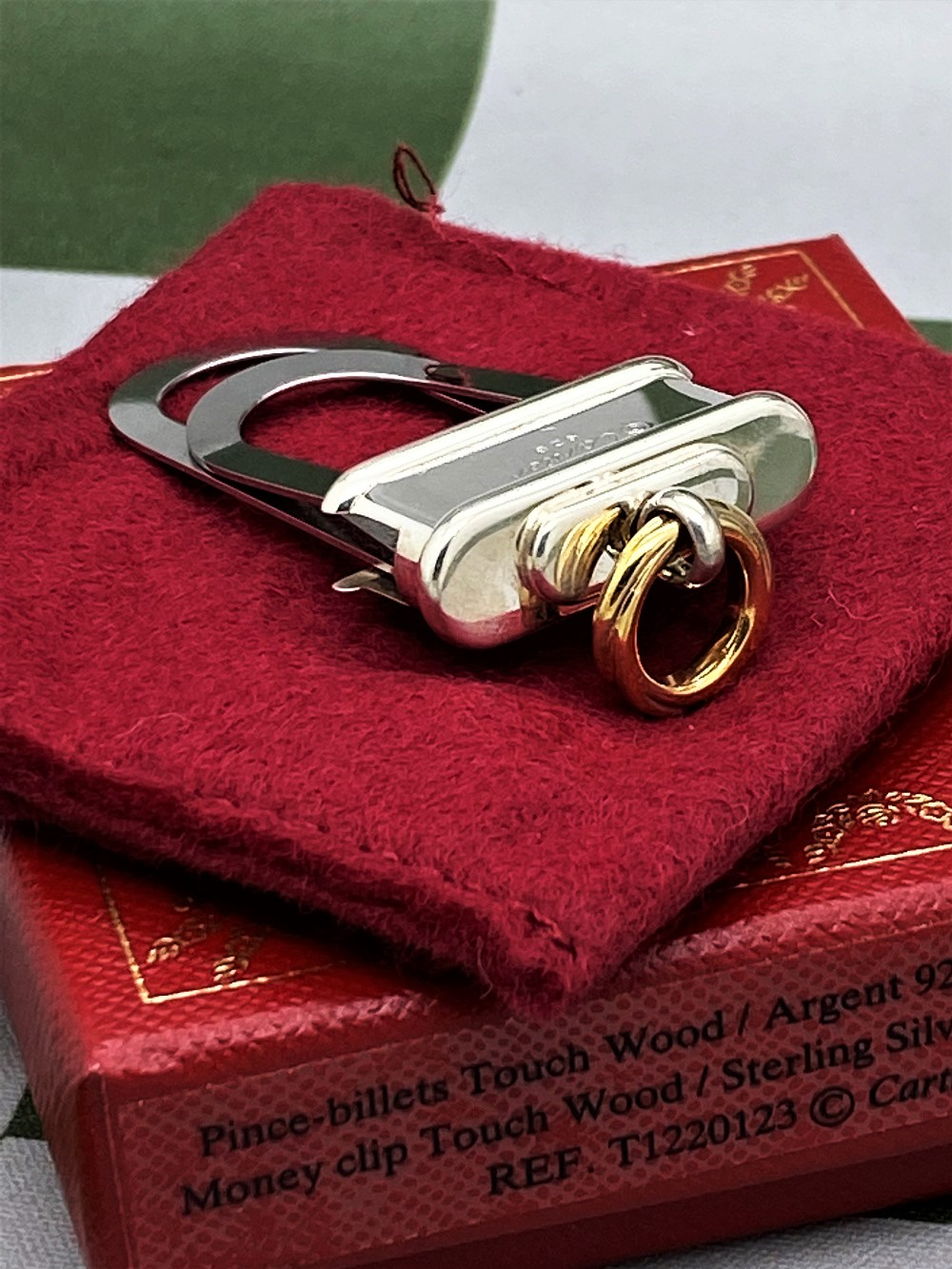 Cartier Paris -Extremely Rare Sterling Silver 925 & Gold Key Ring / Money Clip - Image 5 of 9