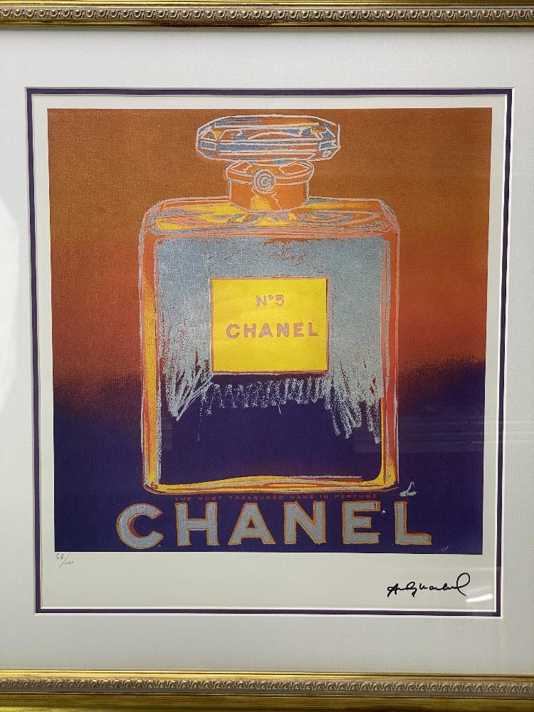 """Andy Warhol (1928-1987) """"Chanel"""" Castelli NY Original Numbered Lithograph #58/100, Ornate Framed. - Image 2 of 7"""