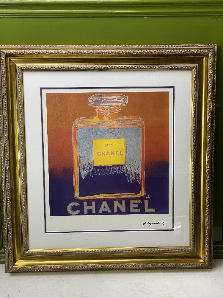 """Andy Warhol (1928-1987) """"Chanel"""" Castelli NY Original Numbered Lithograph #58/100, Ornate Framed. - Image 7 of 7"""