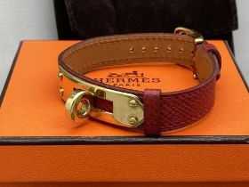Hermes Paris -Gold Plated Red Leather Twist Bracelet