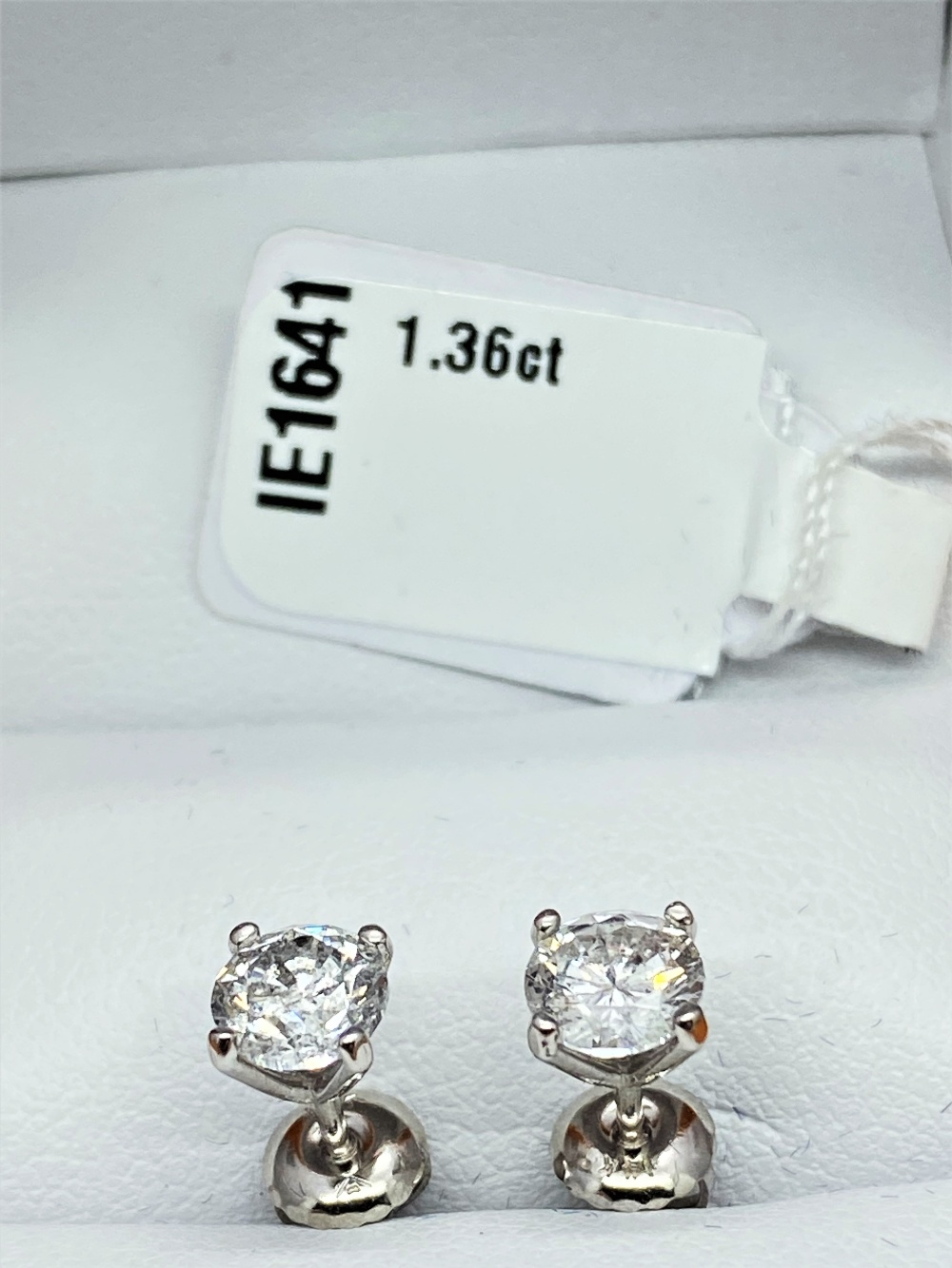 Pair of New 1.36 Carat Round Cut VS1/D Diamond Stud Earrings On 14K Hallmarked White Gold - Image 7 of 7