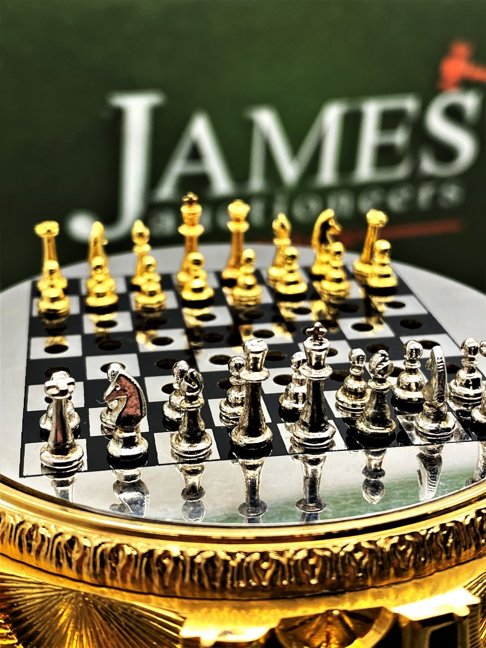Franklin Mint House of Faberge 24 Carat Gold Imperial Jeweled Egg Chess Set - Image 5 of 11