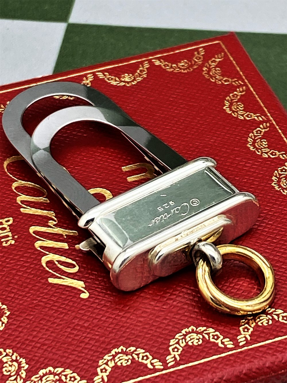 Cartier Paris -Extremely Rare Sterling Silver 925 & Gold Key Ring / Money Clip - Image 9 of 9