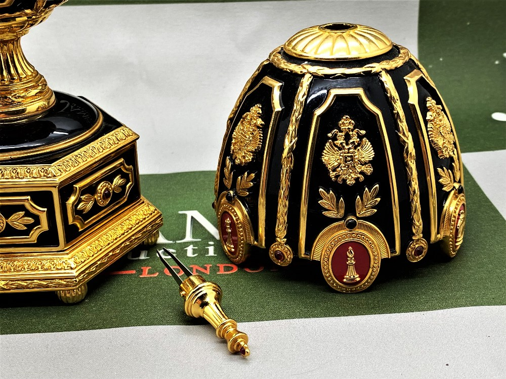 Franklin Mint House of Faberge 24 Carat Gold Imperial Jeweled Egg Chess Set - Image 9 of 11