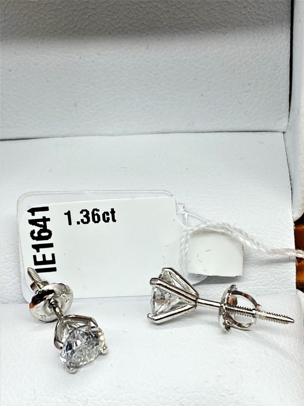 Pair of New 1.36 Carat Round Cut VS1/D Diamond Stud Earrings On 14K Hallmarked White Gold - Image 6 of 7