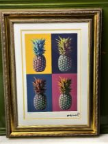 """Andy Warhol-(1928-1987) """"Pineapple"""" Castelli NY Original Numbered Lithograph #33/100, Ornate Framed."""