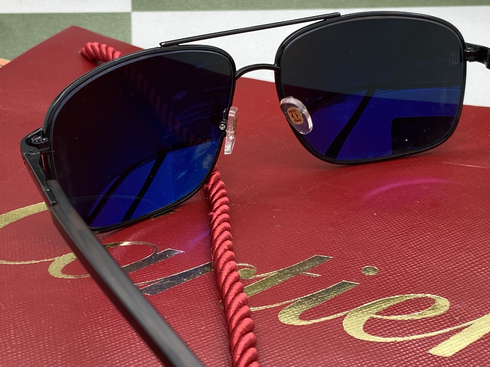 Cartier Aviator Sunglasses With Black Frame, Wood Arms. - Image 4 of 5