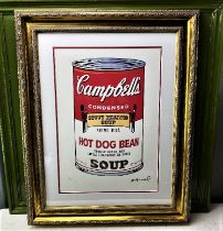 """Andy Warhol-(1928-1987) """"Campbells""""Castelli NY Original Numbered Lithograph #70/100, Ornate Framed."""