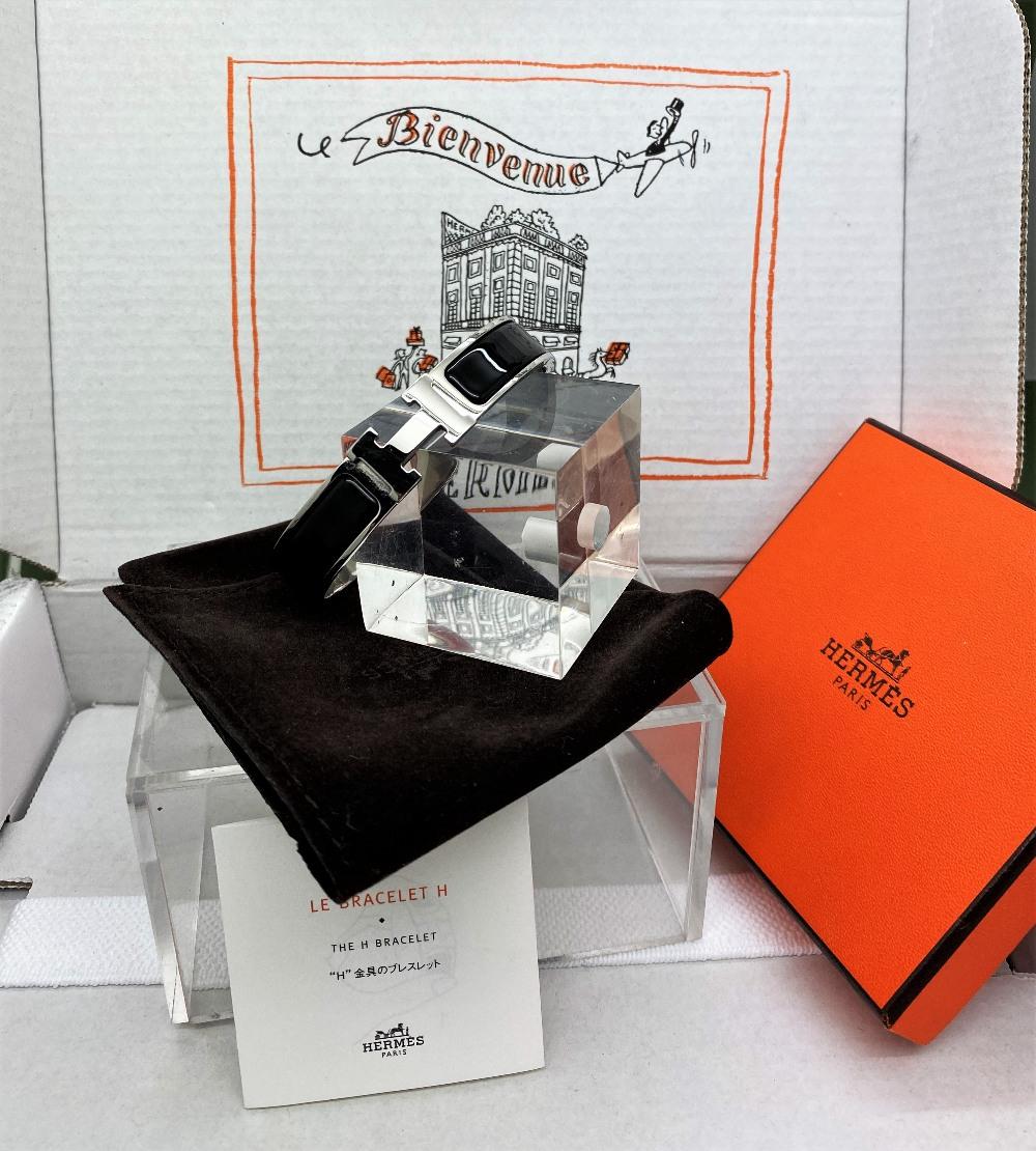 """Hermes Paris Classic """"H"""" Click Clac Bracelet - Image 6 of 8"""