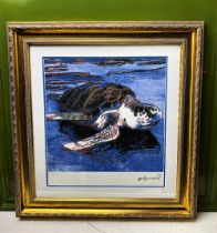 """Andy Warhol-(1928-1987) """"Turtle""""Castelli NY Original Numbered Lithograph #82/100, Ornate Framed."""