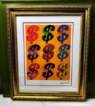 """Andy Warhol (1928-1987) """"$"""" Castelli NY Original Numbered Lithograph #5/100, Ornate Framed."""