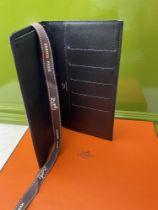 Hermes Paris Long Mens Leather Bill Wallet Monogrammed Edition