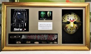 Signed 3D Friday the 13th Jason Display With Mask & Machete led lighting