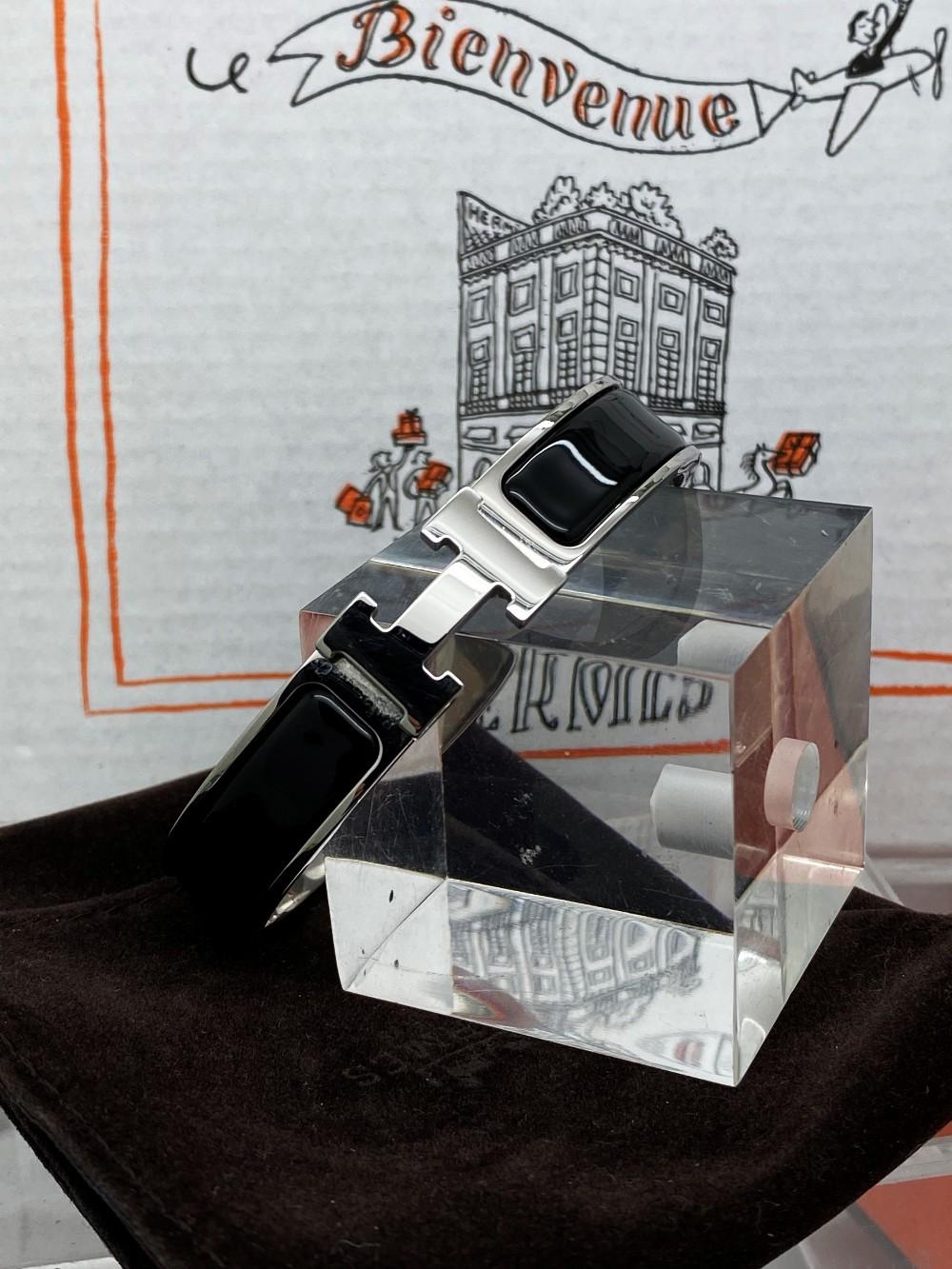 """Hermes Paris Classic """"H"""" Click Clac Bracelet - Image 5 of 8"""