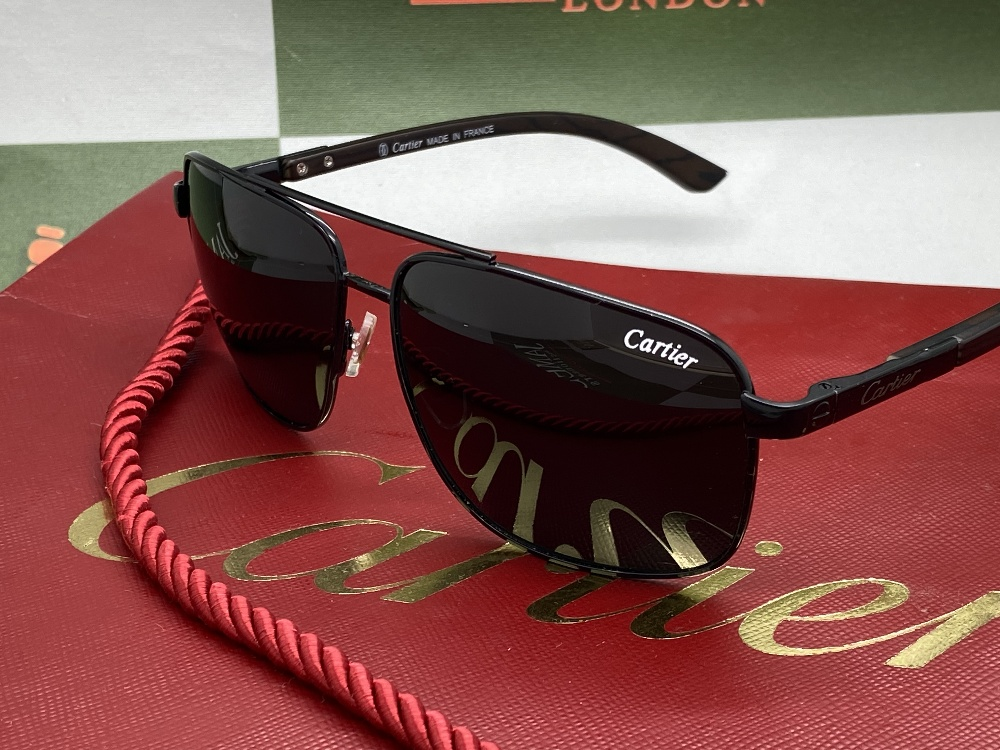 Cartier Aviator Sunglasses With Black Frame, Wood Arms. - Image 2 of 5