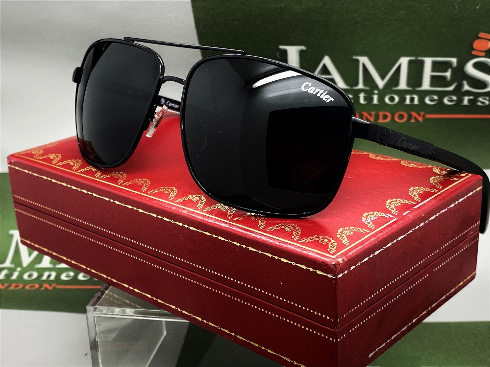Cartier Aviator Sunglasses With Black Frame, Wood Arms. - Image 5 of 5