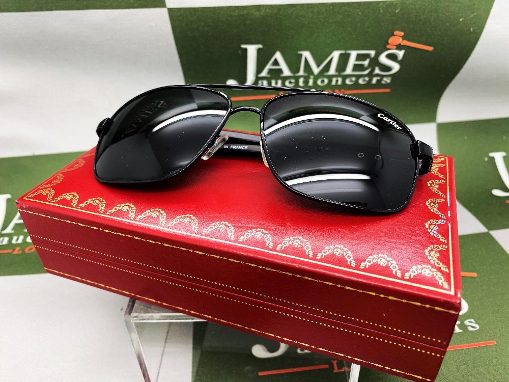 Cartier Aviator Sunglasses With Black Frame, Wood Arms.