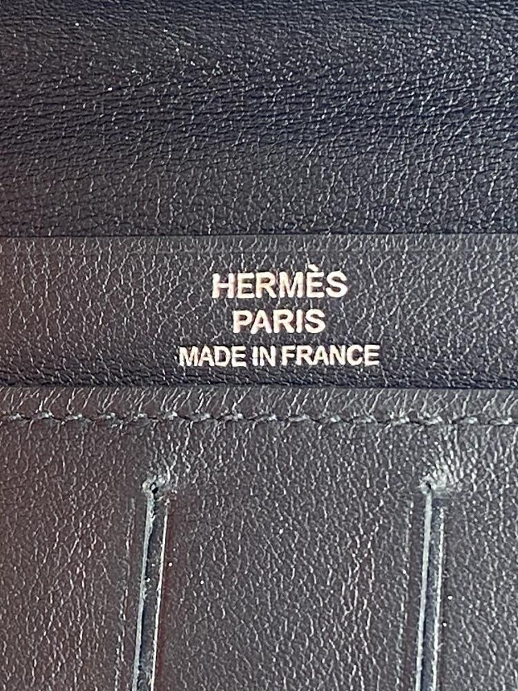 Hermes Paris Long Mens Leather Bill Wallet Monogrammed Edition - Image 4 of 5