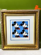 """Andy Warhol (1928-1987) """"Blue Mickey x 4"""" Lithograph, Ornate Framed."""
