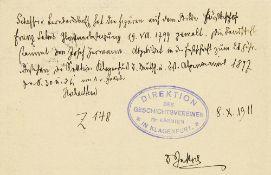 Johann Evangelist Scheffer von Leonhardshoff. Eigenhändiger Brief mit Unterschrift des öst
