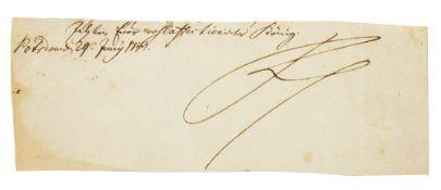 König Friedrich II.. 2 eigenhändige Paraphen von Friedrich dem Großen (1712-1786). Aussch