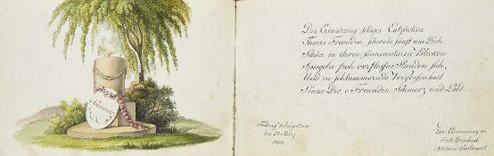 Liber amicorum - Sachsen - - Stammbuch mit ca. 47 Einträgen, 4 Aquarellen bzw. aquarelli