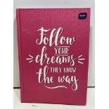 """3 x """"Follow Your Dreams They Know The Way"""" Pink Grid Notebooks   5902277221636"""