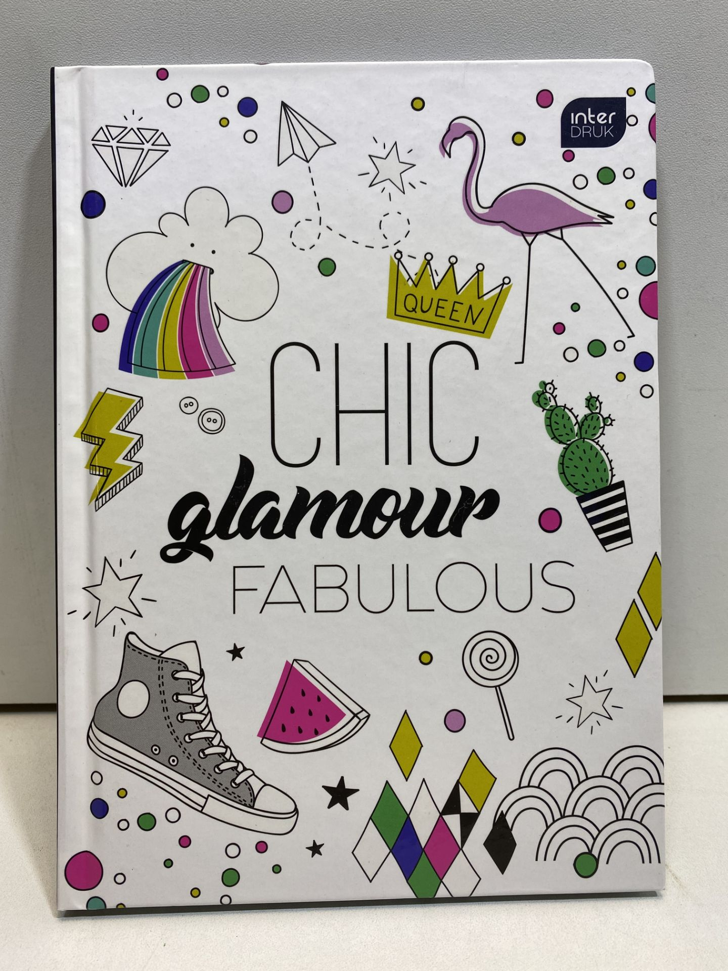 """3 x """"Chic Glamour Fabulous"""" White Grid Notepad 