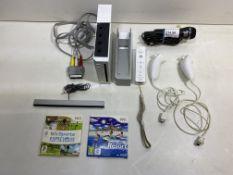 Nintendo Wii Games Console w/ Controller, Nunchucks, Docking Station & 2 x Games
