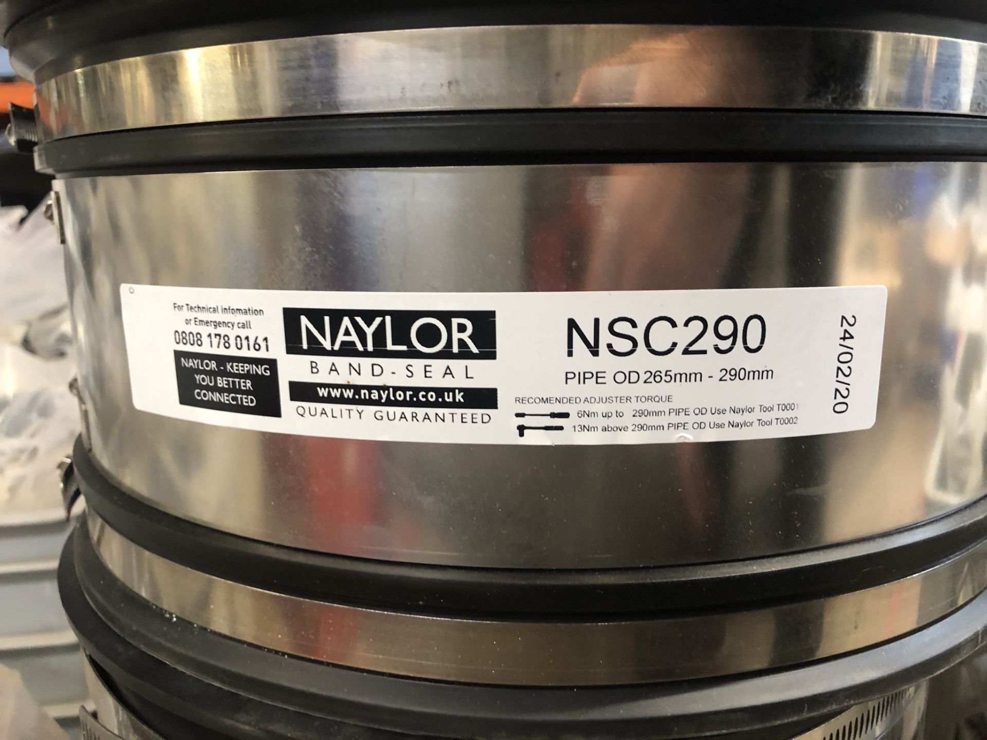 5 x Naylor NSC290 Band Seals - Pipe OD 265mm-290mm - Image 3 of 3