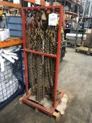 6 x Various Heavy Duty Lifting Chains/Hooks w/ Stand