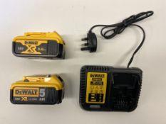 DeWalt DCB115 Battery Charger w/ 2 x DeWalt DCB184 18V Batteries