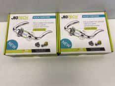 2 x Jigtech Cresta Door Handles Pack Hinge and Latch Pack   JTB72200