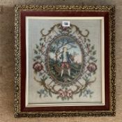 Framed Tapestry Picture of a boy with a rake