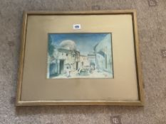 M Fink Watercolour | Mosque With Figures