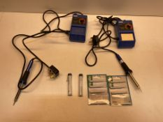 2 x Soldering Irons W/ Various Accessories