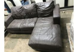 3 Seater Leather Corner Sofa | NO VAT ON HAMMER