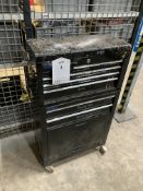 9 Drawer Wheeled Metal Tool Cabinet w/Contents