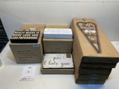 6 x Boxes Wall Plaques & 5 x Boxes Wall Mounted Card Holders | See description and photographs