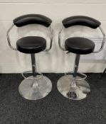 2 x Faux Leather & Chrome Bar Stools