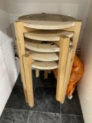 5 x Wooden Stackable Stools