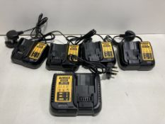5 x Various DeWalt Battery Chargers | Total RRP £172.99