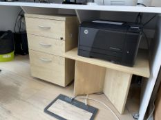 3 Drawer Desk Pedestal w/ Light Wood Effect & Coffee Table - 60 x 60cm